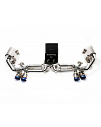 ARMYTRIX Stainless Steel Valvetronic Exhaust System Quad Titanium Blue Tips Porsche 991.2 Turbo