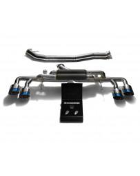 ARMYTRIX Titanium Valvetronic Catback Exhaust 90mm System Quad Titanium Blue Tips Nissan GT-R R35 2009-2020