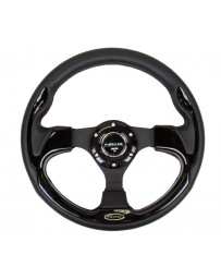 NRG Reinforced Steering Wheel (320mm) Blk with Gloss Black Trim