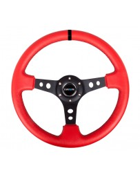 NRG Reinforced Steering Wheel (350mm / 3in. Deep) Red Leather/Blk Stitch w/Blk Spokes (Hole Cutouts)