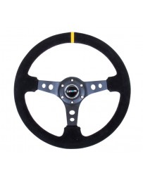 NRG Reinforced Steering Wheel (350mm / 3in. Deep) Blk Suede w/Circle Cut Spokes & Single Yellow CM