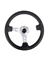 NRG Reinforced Steering Wheel (350mm / 3in. Deep) Blk Leather w/Silver Spoke & Circle Cutouts