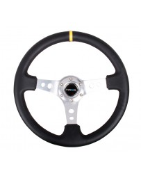 NRG Reinforced Steering Wheel (350mm / 3in. Deep) Blk Leather w/Circle Cut Spokes & Single Yellow CM