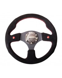 NRG Reinforced Steering Wheel (320mm) Blk Suede w/Dual Buttons