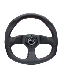 NRG Reinforced Steering Wheel (320mm Horizontal / 330mm Vertical) Leather w/Red Stitching