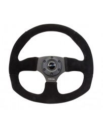 NRG Reinforced Steering Wheel (320mm Horizontal / 330mm Vertical) Black Suede w/Black Stitching