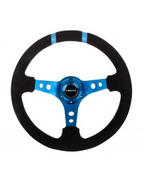 NRG Reinforced Steering Wheel (350mm / 3in. Deep) Blk Suede with Blue Spokes & Double Center Marks