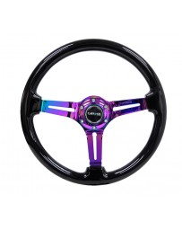 NRG Reinforced Steering Wheel (350mm / 3in. Deep) Blk Wood with Blk Matte Spoke/Neochrome Center Mark