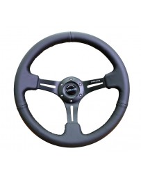 NRG Reinforced Steering Wheel (350mm / 3in. Deep) Black Leather with Black Stitching