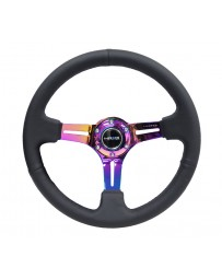 NRG Reinforced Steering Wheel (350mm / 3in. Deep) Blk Leather/Blk Stitch with Neochrome Slits