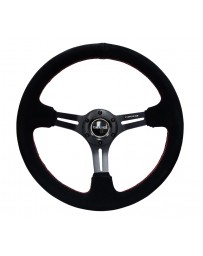 NRG Reinforced Steering Wheel (350mm / 3in. Deep) Blk Suede w/Red Stitching & 5mm Spokes with Slits