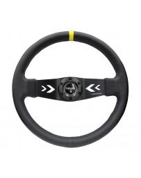 NRG Reinforced Steering Wheel (350mm / 3in Deep) Blk Leather with NRG Arrow-Cut 2-Spoke & Sgl Yellow CM