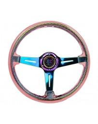 NRG Reinforced Steering Wheel (350mm/2in Deep) Acrylic Steering Wheel - Red/NeoChrome Spoke Finish