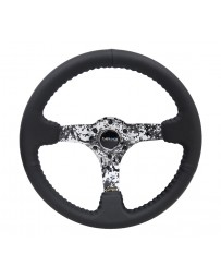 NRG Reinforced Steering Wheel (350mm / 3in. Deep) Blk Leather with Hydrodipped Digi-Camo Spokes
