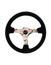 NRG Reinforced Steering Wheel (350mm / 3in. Deep) Blk Suede Floral Dipped with Blk Baseball Stitch