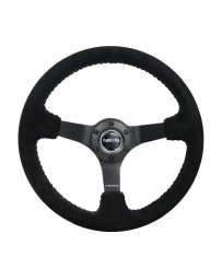NRG Reinforced Steering Wheel (350mm / 3in. Deep) Blk Suede/Blue BBall Stitch with 5mm Matte Blk Spokes