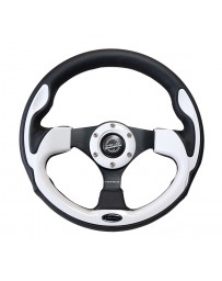 NRG Reinforced Steering Wheel (320mm) Blk with Silver Trim & 5mm 3-Spoke