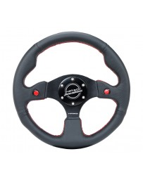NRG Reinforced Steering Wheel (320mm) Blk Leather with Dual Buttons