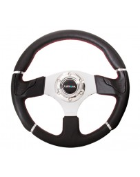 NRG Reinforced Steering Wheel (320mm) Blk Leather/Red Stitching with Chrome 3-Spoke Center