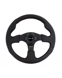 NRG Reinforced Steering Wheel (320mm) Black Leather with Black Stitching