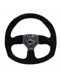 NRG Reinforced Steering Wheel (320mm Horizontal / 330mm Vertical) Suede with Red Stitch