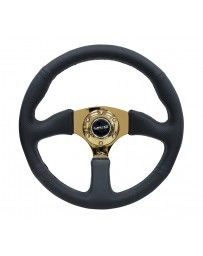 NRG Reinforced Steering Wheel (350mm / 2.5in. Deep) Leather Race Comfort Grip with 4mm Gold Spokes