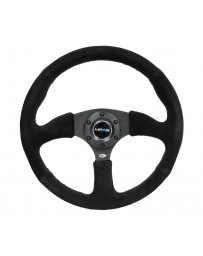 NRG Reinforced Steering Wheel (350mm / 2.5in. Deep) Blk Suede Comfort Grip with 5mm Matte Blk Spokes