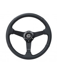 NRG Sport Steering Wheel (350mm / 1.5in Deep) Black Leather Black Stitch with Matte Black Solid Spokes