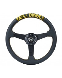 NRG Sport Steering Wheel (350mm / 1.5in Deep) Black Leather/Gold Stitch with Matte Black Solid Spokes