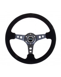 NRG Reinforced Steering Wheel (350mm / 3in. Deep) Blk Suede/Blk Stitch with Black Circle Cutout Spokes