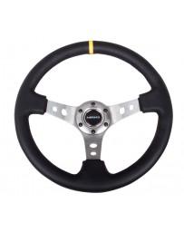 NRG Reinforced Steering Wheel (350mm / 3in. Deep) Blk Leather with Gunmetal Cutout Spoke & Yellow CM