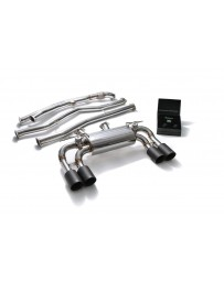 ARMYTRIX Stainless Steel Valvetronic Catback Exhaust System Quad Matte Black Tips BMW M2 F87 2016-2020