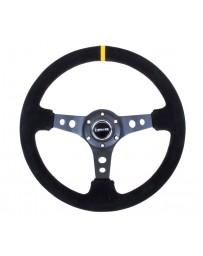 NRG Reinforced Steering Wheel (350mm / 3in. Deep) Blk Suede w/Circle Cut Spokes & Single Yellow CM
