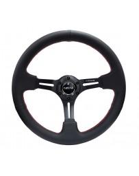 NRG Reinforced Steering Wheel (350mm / 3in. Deep) Black Leather/Red Stitch & Blk 3-Spoke w/Slits