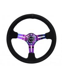 NRG Reinforced Steering Wheel (350mm / 3in. Deep) Blk Suede/Blk Stitch w/Neochrome Slits