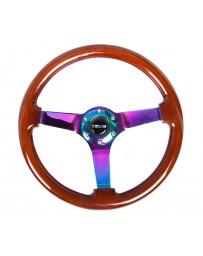 NRG Reinforced Steering Wheel (350mm / 3in. Deep) Classic Dark Wood w/4mm Neochrome Solid 3-Spoke