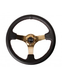 NRG Reinforced Steering Wheel (3in Deep / 4mm) 350mm Blk Leather w/Red BBall Stitch & Gold Spoke