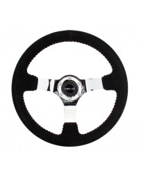 NRG Reinforced Steering Wheel (350mm / 3in. Deep) Blk Suede w/Red BBall Stitch & Chrome 3-Spoke