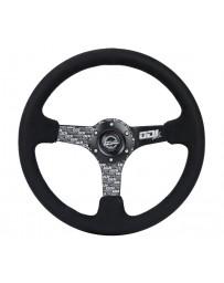 NRG Reinforced Steering Wheel (350mm / 3in. Deep) Odi Bakchis Signature Solid Spokes Alcantara