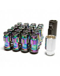 370z Project Kics R40 Iconix Lug Nuts with Locks Neo-Chrome with Plastic Cap M12X1.25, Black