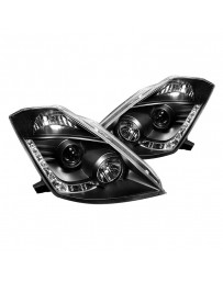 350z DE 2003-2005 Spyder PRO-YD-N350Z02-DRL-BK - Black Projector LED Headlights with DRL