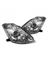 350z DE 2003-2005 Spyder PRO-YD-N350Z02-HID-DRL-C - Chrome Projector LED Headlights with DRL