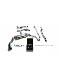 ARMYTRIX Stainless Steel Valvetronic Catback Exhaust System Dual Blue Coated Tips Mercedes-Benz CLA-Class C117 14-17