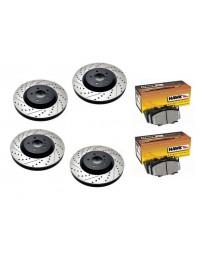 370z StopTech Discs & Hawk Performance Ceramic Pads kit for Akebono brakes - SLOTTED & DRILLED