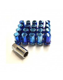 370z Project Kics Heptagon Caliber 24 Closed Ended Lug Nuts M12X1.25, Blue Titanium