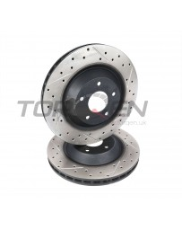 370z DBA Drilled/Slotted 330x28mm Front Set for Stillen AP Racing 30-1100 BBK, Rotor with Black Hat