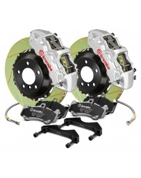 R34 Brembo GT Series Slotted 2-Piece Rotor Rear Big Brake Kit - Silver