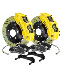 R34 Brembo GT Series Cross Drilled 2-Piece Rotor Front Big Brake Kit - Yellow