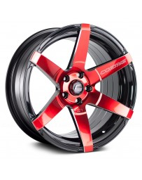 "COSMIS RACING - S1 Black with Red Face and Milled Spokes (18"" x 9.5"", +15 Offset, 5x114.3 Bolt Pattern, 73.1mm Hub)"