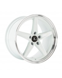 "COSMIS RACING - R5 White with Machined Lip (18"" x 9.5"", +25 Offset, 5x120.65 Bolt Pattern, 63.4mm Hub)"